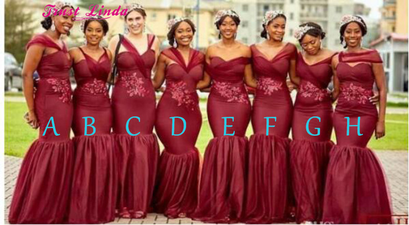 Real Photo Sexy Mermaid   Bridesmaid     Dresses   Formal   dresses   2018 Burgundy Appliques Bridal Party Wear Prom Gowns Red Carpet