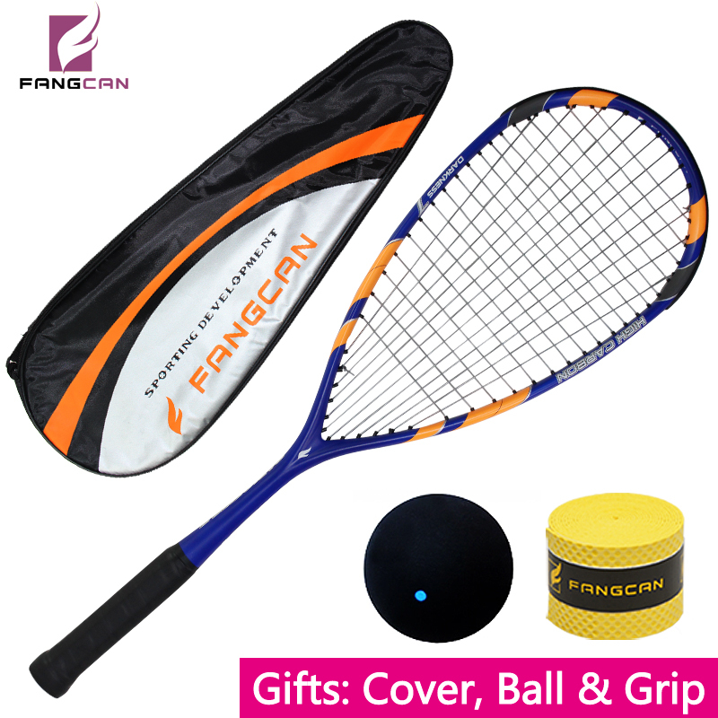 все цены на (2pcs/lot) Brand high quality FANGCAN squash racket/racquet, 100% graphite T700, cover, ball and grip as gift, blue color racket онлайн