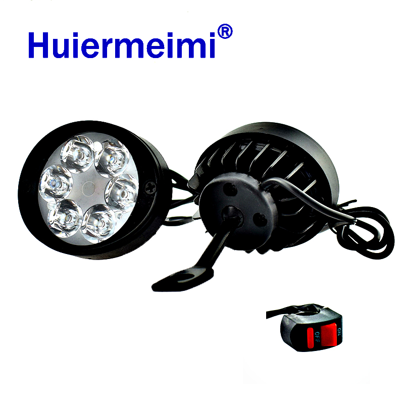 2PCS LED Motorcycle Headlights Moto Side Mirror Lights Motorbike Mirror Mount Driving Headlamps Spotlight Assist Head Work Lamp