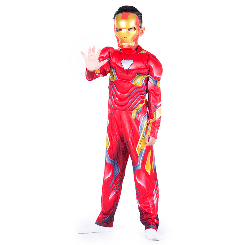 OKOUFEN 2019 New Halloween Fashion Avenger Alliance Steel Man Childrens Stage Performance Costume Muscle Style CS0010