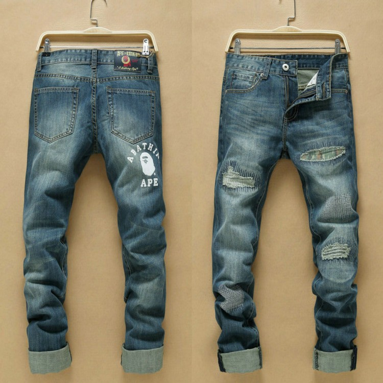 ФОТО Free shipping 2016 new Korean version hot sale big size Good quality popular youth Broken Hole straight jeans Cheap wholesale