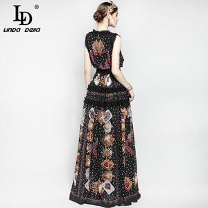 Image 5 - Женское модельное платье макси без рукавов, элегантное винтажное длинное платье в пол с цветочным принтом роз и вышивкой