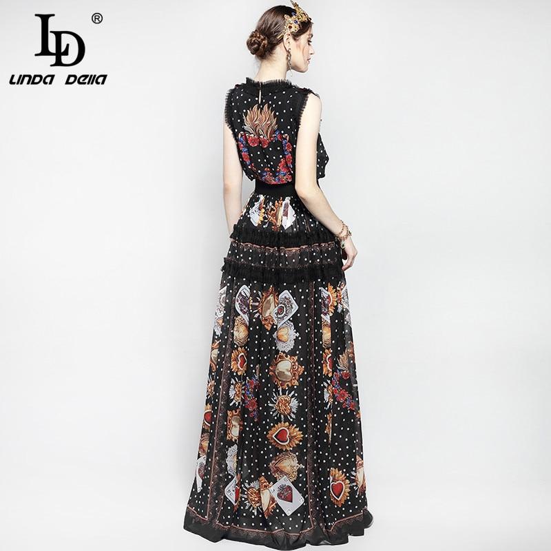 Nouveau 2019 mode piste Maxi robe femmes longueur de plancher sans manches élégant Rose fleur imprimer Floral broderie Vintage longue robe - 6