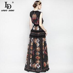 Image 5 - Robe longue Vintage pour femmes, tenue tendance, longue au sol, sans manches, imprimé Floral de roses, mode pour femmes