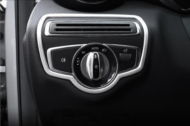 car interior headlight switch button cover frame trim fit for mercedes benz c class w205 2015. Black Bedroom Furniture Sets. Home Design Ideas
