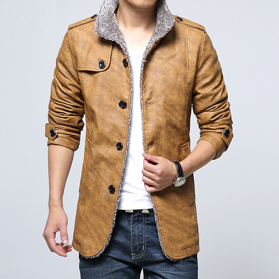 2016 PU Leather Jacket Men Brand High Quality Velvet Warm Winter Motorcycle Business Casual Mens Faux