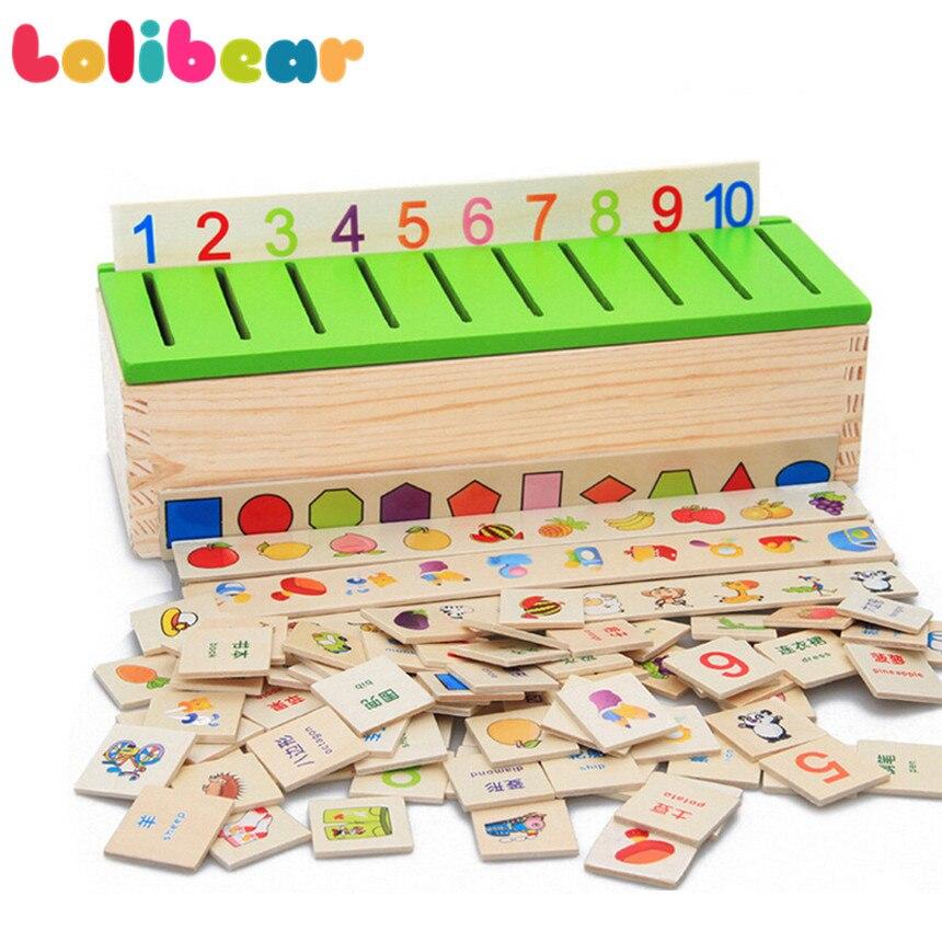Montessori Puzzle en bois éducation précoce jouets Classification des connaissances boîte apprentissage numéro mathématique Animal coloré enfants jouet cadeaux