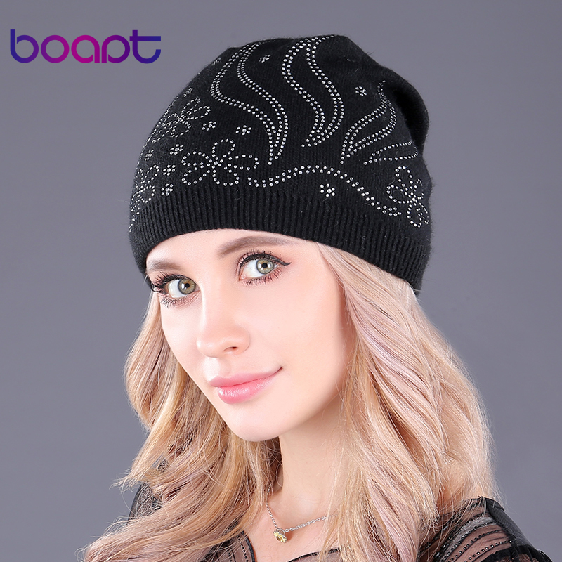 [boapt] double-deck thick wool knitted hats diamond embedded   skullies     beanies   solid cap warm casual winter caps for women's hat