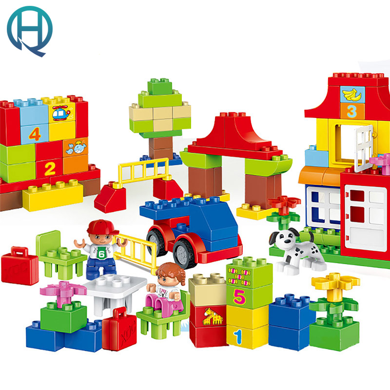 HuiMei Fun Learning Paradise  Big Building Blocks Bricks Baby Early Educational Learning Train Birthday Toys for Kids Children brand kr little red bird and green pig building blocks toys with fun for children kids birthday gift legoelieds lp19003