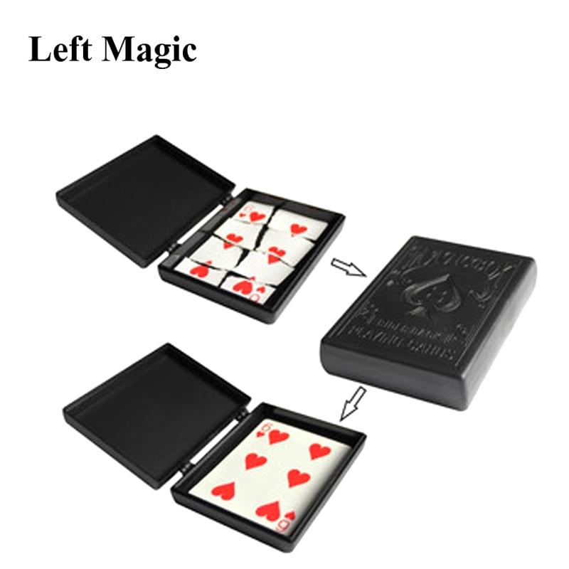 Surprise Restore Box Magic Tricks Black Plastic Box Broken Paper Card Case Close-Up Magic Tricks Props Toys For Children
