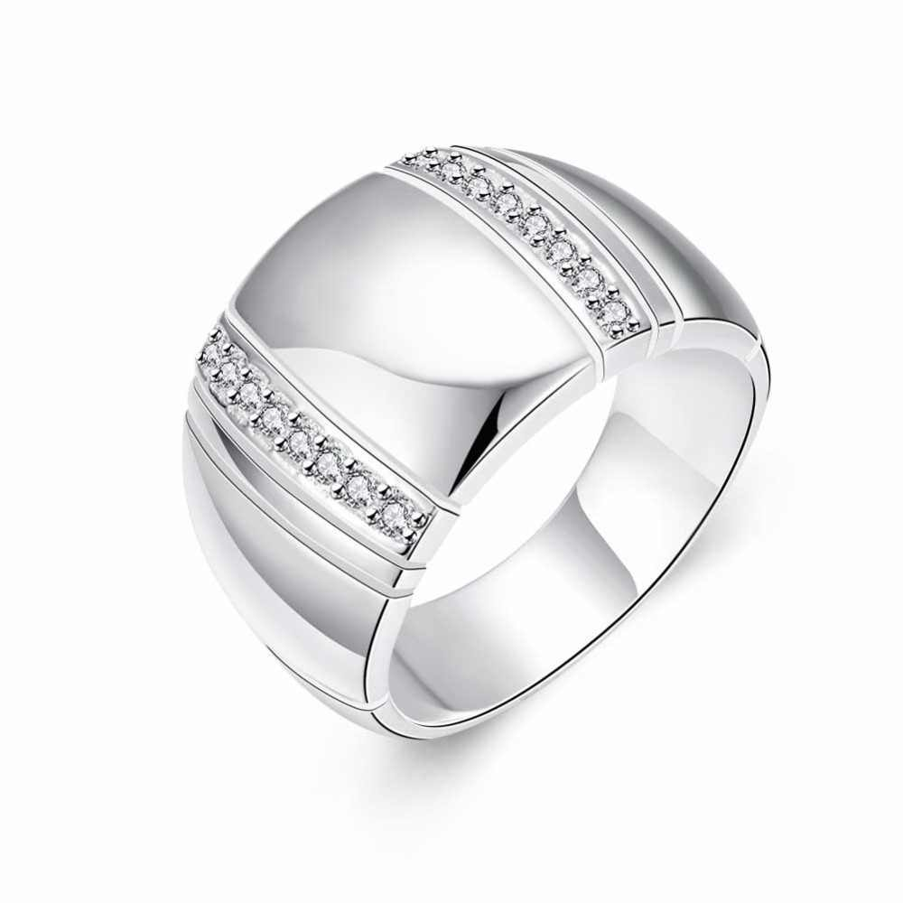 100% 925 Sterling Silver Woman Man Ring CZ Crystal Wedding Engagement Wholesale Fashion Finger Rings Fine Jewelry