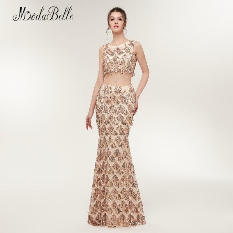 Modabelle sirène deux pièces Sequin robes de bal Champagne or Vestido Festa Longo longueur de plancher femmes robe de soirée brillant - 3