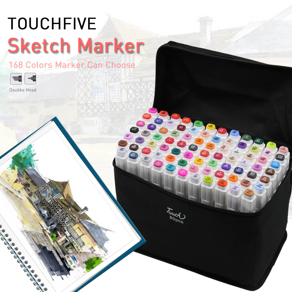TouchFive 168 Colors Marker Brush pen Art Marker Sketch Markers set Alcohol based For Manga School Office pens Design Supplies