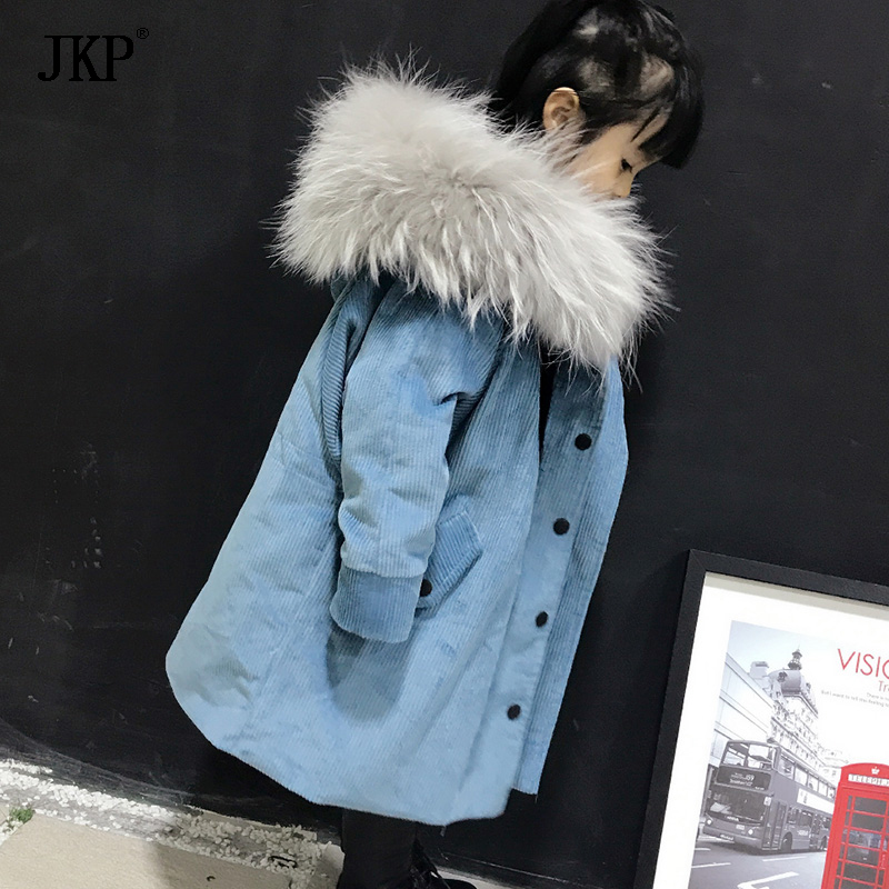 Winter Children Fur Warm Coat Kids Hooded Raccoon fur Collar Thick jacket Outerwear Baby Boys Girls Parka olekid 2017 new cartoon rabbit winter girls parka thick warm hooded children outerwear 5 14 years teenage girls sweater coat