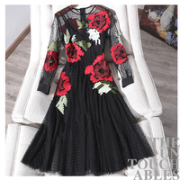 Women heavy cross embroidery dot black mesh dress long sleeve tutu dresses new 2019 spring summer runway brand red floral gothic