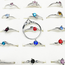 10pcs Fashion Wholesale Lots Bulk Mixed Shape and Color Rhinestone Silver Plated Rings For Women Jewelry