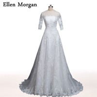 Designer Ellen Morgan Wedding Dresses with Sleeve 2017 for Girls Court Train Appliques Marry Bridal Gowns Vestido De Noiva
