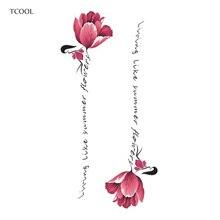 TCOOL Flower Temporary Tattoo Sticker Waterproof Fashion Women Arm Fake Face Body Art 10.5X6cm Kids Adult Hand Tatoo P-034