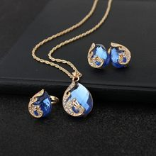 Wedding Crystal Jewelry Sets Luxury Animal Peacock Necklace Pendant Earring Set Bridal Party Indian Choker Earrings Women(China)