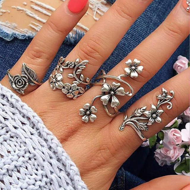 New Antique Silver Colour 4 Pcs/ Set Punk Flowers Leaves Hollow Rose Silver Ring