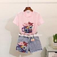Summer Set Women Sequin 3D Flower T shirt Women Jeans Skirt Shorts 2pcs Casual Cotton Tops Denim Short Skirt Suit Two Piece Set