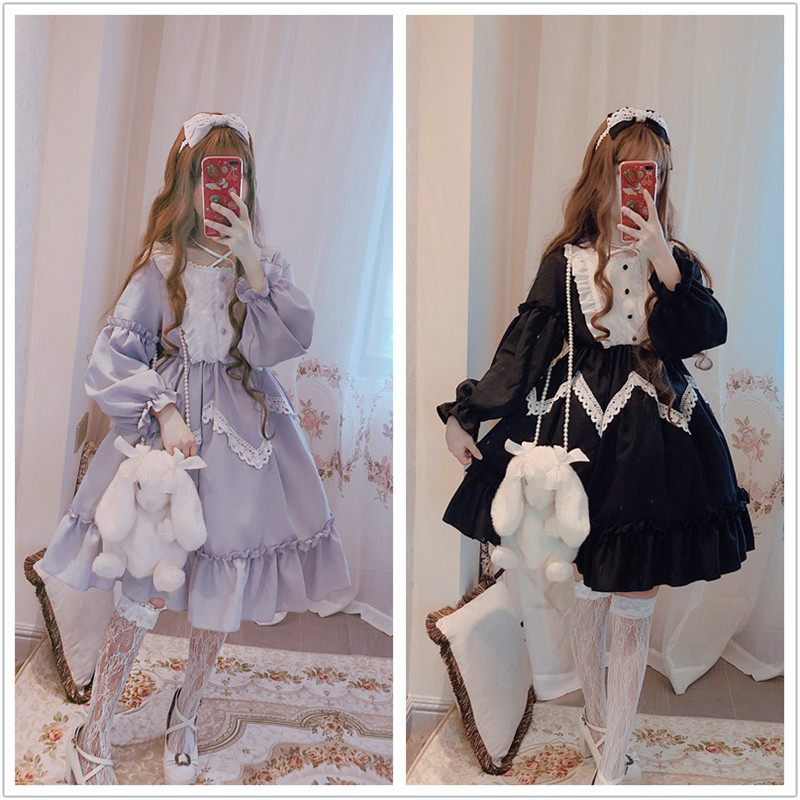 Winter Long sleeve Alice in Wonderland Lolita Big lace dress Big swing Lavender blue Black