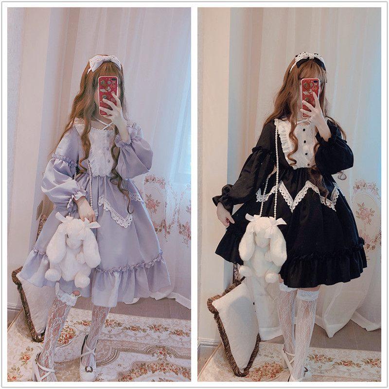 Invierno de manga larga Alicia en el país de las Maravillas Lolita gran vestido de encaje grande swing lavanda azul y negro-in Vestidos from Ropa de mujer    1