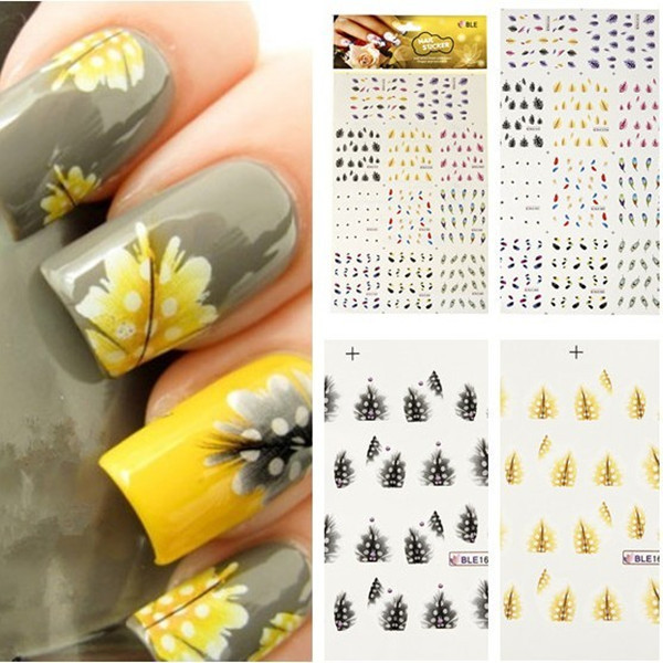 220 Patterns Decals Peacock Feather Professional Nail Art Stickers