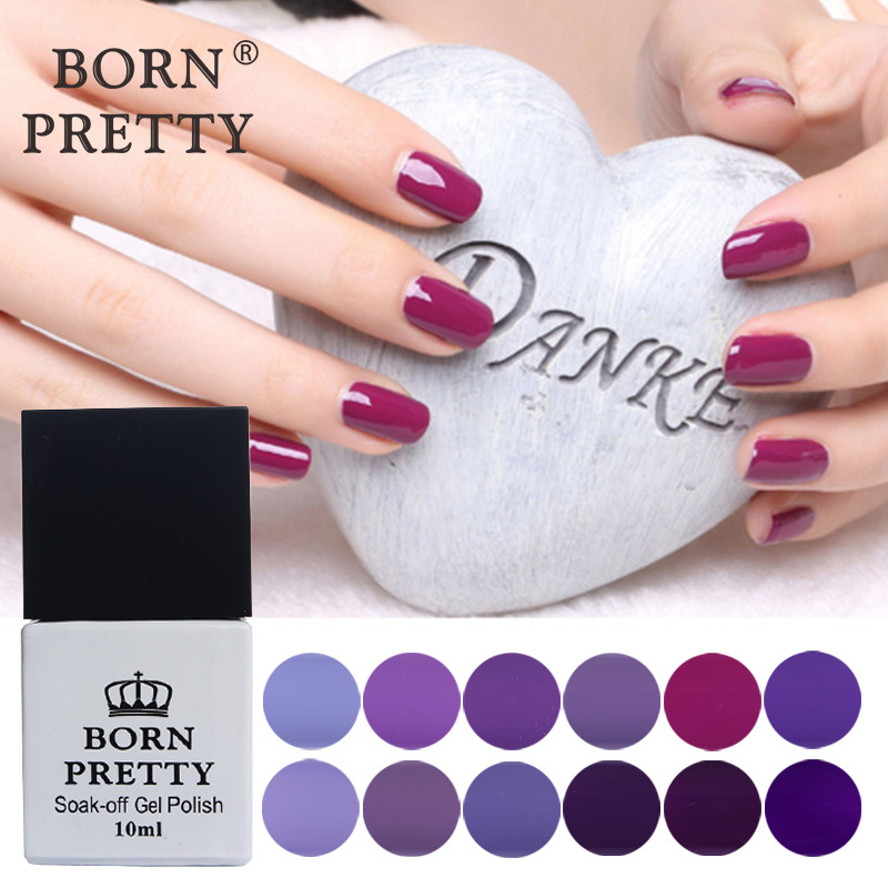 BORN PRETTY 12 Bottles Purple Series Nail Gel 10ml Soak Off UV Gel Polish Pure Color 12 Colors Nail Art Gel Polish ободки pretty mania ободок