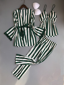 Image 5 - Frauen Pyjamas Set Satin Nachtwäsche 3 Stück Spaghetti Strap Streifen Parttern 2018 Sexy Dessous Seide Pijama Hause Kleidung Pyjama