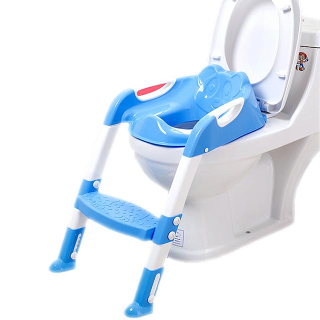 Novo Bebê Assento Do Vaso Sanitário de Plástico Dobrável Cadeira Assento Potty Wc Instrutor Passo com Escada Ajustável infantil das Crianças Potty Higiênico