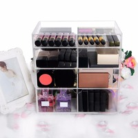 Langforth Large Beauty Cube 4 Tier Acrylic Cosmetic Box Makeup Organizer Storage
