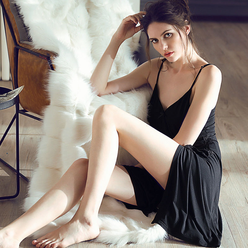 Sexy modal   Nightgown   Women Sleeveless Strap Nightwear Sleepwear Female Wear Night Dress Home   Sleepshirt   nighty lace splicing