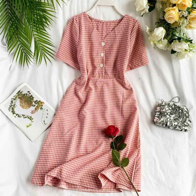 Облегающее женское модное клетчатое платье средней длины с v-образным вырезом и принтом; Вечерние платья на пуговицах; vestido de festa; женские повседневные платья трапециевидной формы с высокой талией