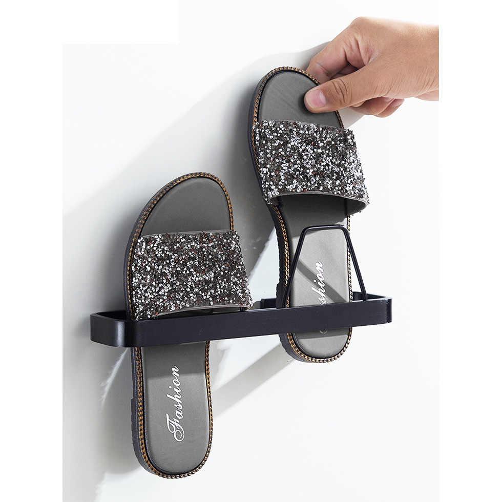 Czarny srebrny przestrzeń aluminium kapcie półka łazienka stojak na buty nowoczesny stojak do przechowywania po drzwiach
