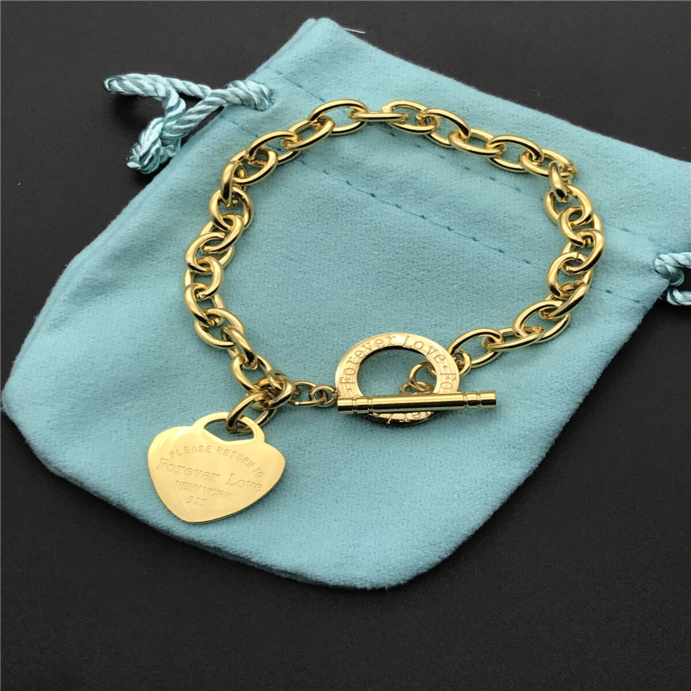 316L Stainless Steel heart love bracelets OT clasp for women Forever Love Pulseira Fine Jewelry not fade color in water
