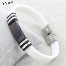 Wholesale Fashion jewelry Silicone Rubber Men Braclets Stainless Steel white Bracelet Bangle pulseiras masculina
