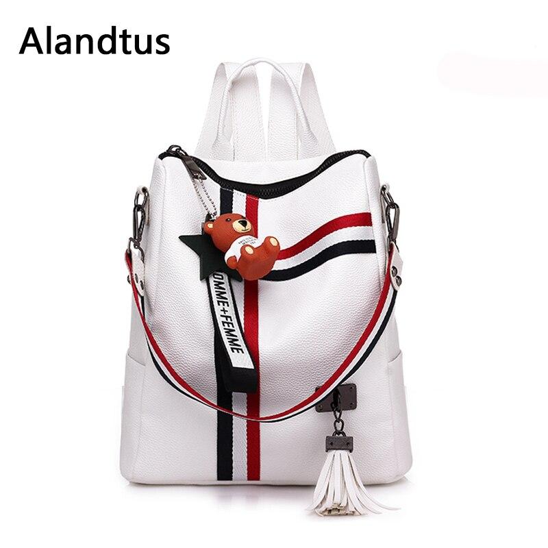 f1561e84ebfc Alandtus Брендовые женские сумки с кисточками женский рюкзак высокое  качество повседневные школьные сумки для подростков девочек