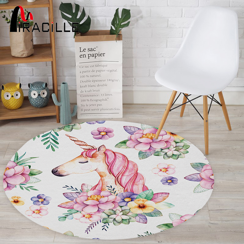 Miracille Cute Unicorn Designer Round Mat Floor Balcony Doorway Welcome Door Carpets Home Decor For Washroom Bedroom Anti-slip