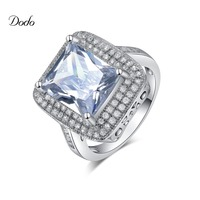 Dodo 925 Sterling Silver Rings Of Women Engagement Ring With Clear Big CZ Authentic Sterling Silver