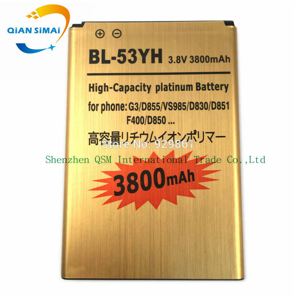 QiAN SiMAi BL-53YH Original High quality Gold Golden <font><b>battery</b></font> For <font><b>LG</b></font> <font><b>G3</b></font> F400 F460 D858 D830 VS985 D850 D851 <font><b>D855</b></font> LS990 BL 53YH