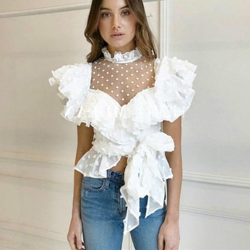 Fairy Lace Stitching Ruffled White Shirts V-Neck Gauze Stitching Blouses Wild Polka Dots High Waist Lace Up Tops Blusas Mujer
