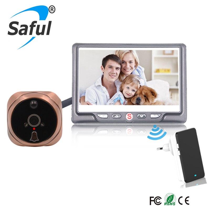 Saful 4.3 LCD Câmera Digital Porta Visualizador de Câmera Olho Mágico Da Porta campainha Sem Fio Visão Noturna Foto/Movimento de Gravação de Vídeo detectar