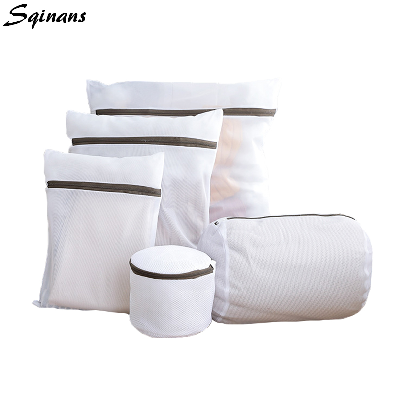 Sqinans Washing Machine Mesh Laundry Bags Reusable Small Ziplock Bag Net Bra/Socks/Clothes Wash Bag Travel Clothes Organizer Bag