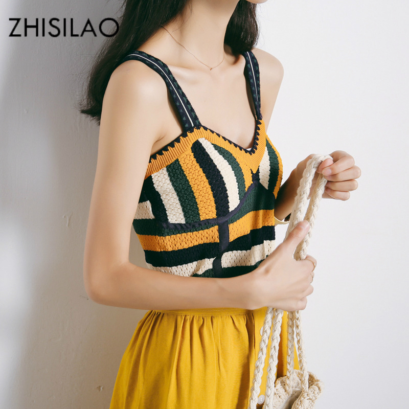 ZHISILAO 2018 Summer Tank Top Woman Vest Knitted Vest Sexy Sleeveless Crop Tops Slim Camis Vest Vintage Summer Tank Top Bohemia