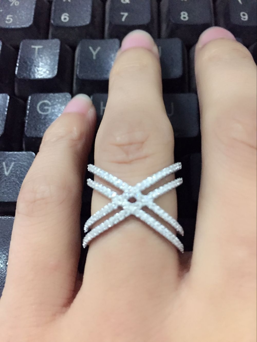 Genuine 925 Sterling silver size 6,7,8,9 micro pave cz double Criss cross X ring for wedding women finger jewelry