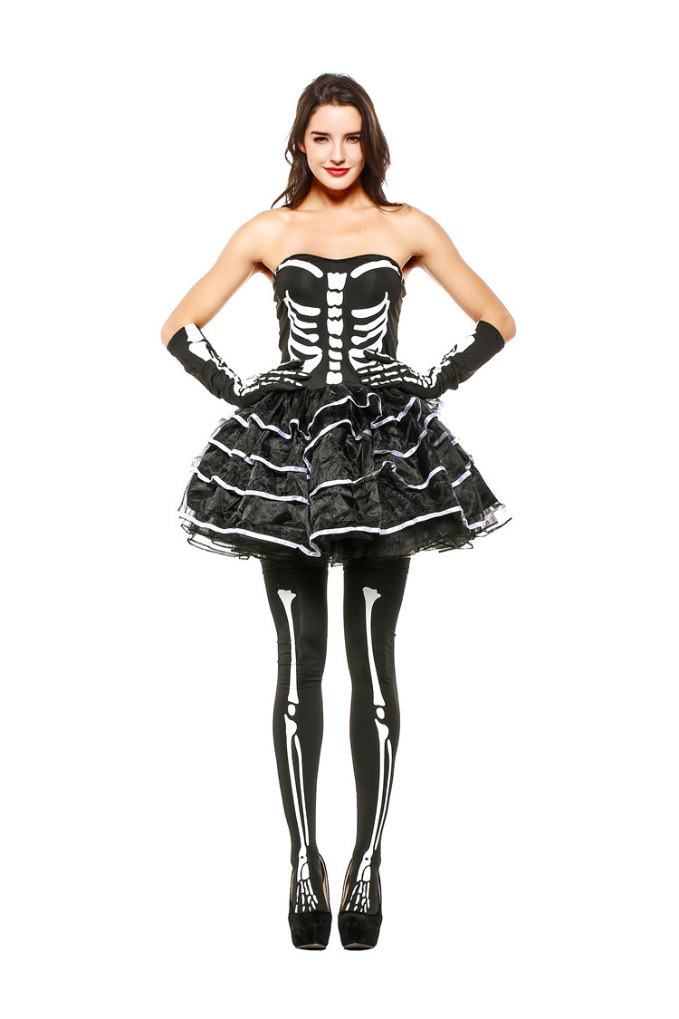 Lady Sexy Beautiful Black Skeleton Cosplay Costume Women Girl's Halloween Game Party Charming Scary Skull Tulle Tube Short Dress