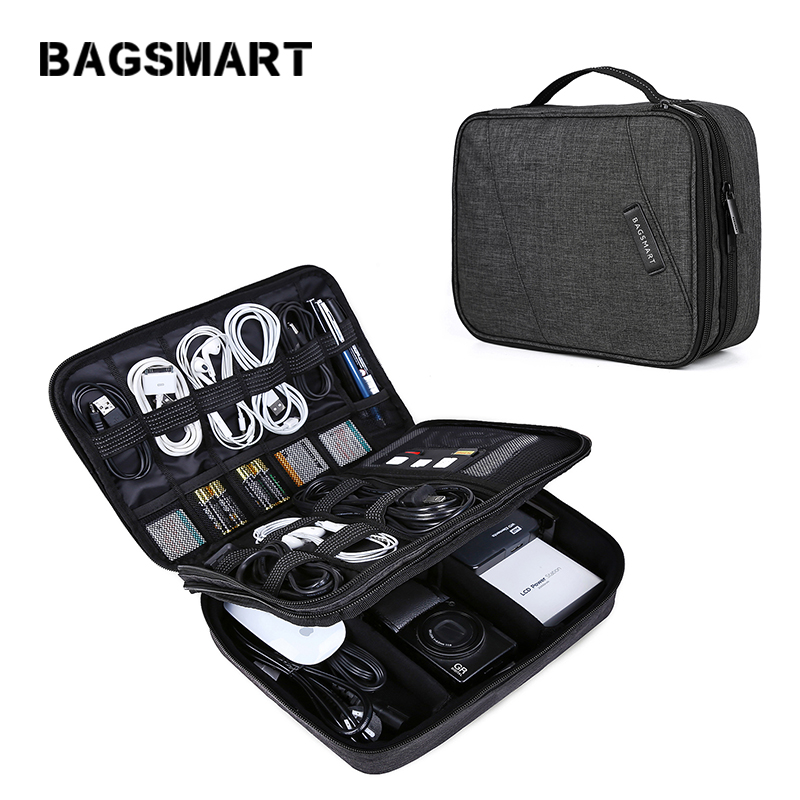 BAGSMART Travel Electronics Organizer Bag Portable Digital Accessory Bag for Cable Charger Wire iPad Waterproof Gadget Bag gadget