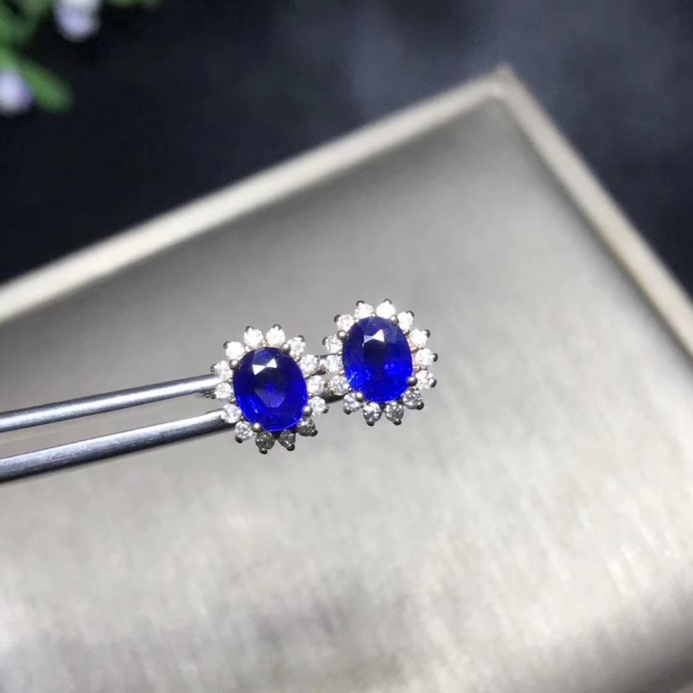 Boucles d'oreilles en saphir bleu pour femmes avec or 18K