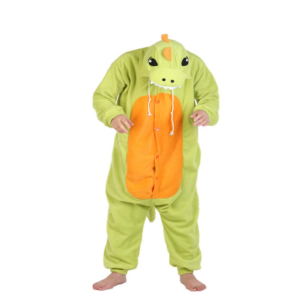 Cartoon Colorful Green Dragon  Winter Animal Pajamas Whole  Chinese Market Online Nightgowns Women Sleepwear Long Sleeve Size